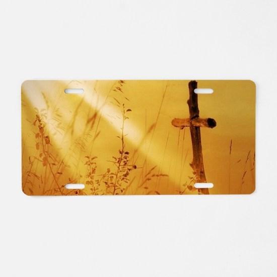 inspirational sunrays golde Aluminum License Plate
