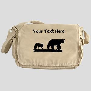 Bear And Cub Silhouette Messenger Bag