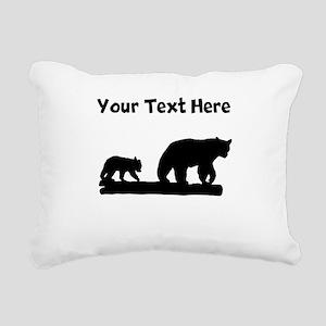 Bear And Cub Silhouette Rectangular Canvas Pillow