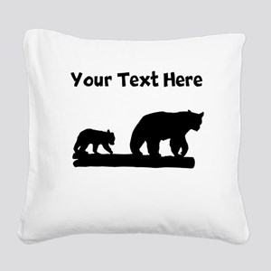 Bear And Cub Silhouette Square Canvas Pillow