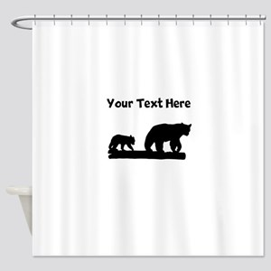 Bear And Cub Silhouette Shower Curtain