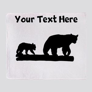 Bear And Cub Silhouette Throw Blanket