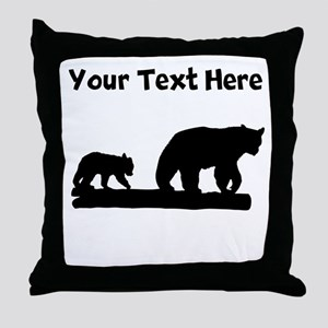 Bear And Cub Silhouette Throw Pillow