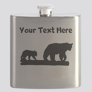 Bear And Cub Silhouette Flask