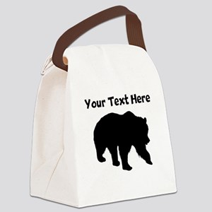 Grizzly Bear Silhouette Canvas Lunch Bag