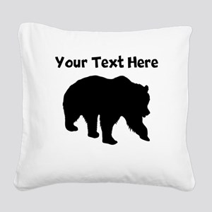 Grizzly Bear Silhouette Square Canvas Pillow