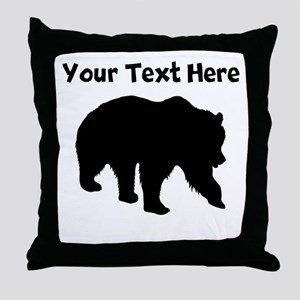 Grizzly Bear Silhouette Throw Pillow