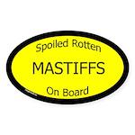 Spoiled Mastiffs On Board Oval Sticker