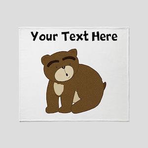 Custom Eyebrows Bear Throw Blanket