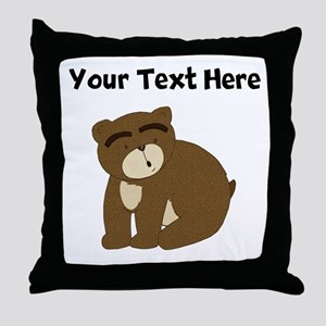 Custom Eyebrows Bear Throw Pillow