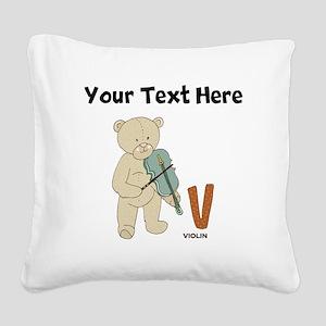 Custom Violin Bear Square Canvas Pillow