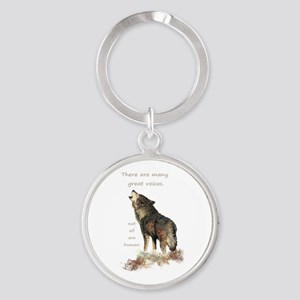 Many Great Voices Inspirational Wolf Keychains