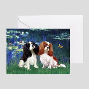 Lilies (5) & Cavalier Pair Greeting Card