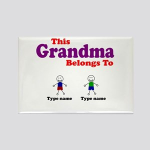 The Grandma Belongs To Two Boys Magnets