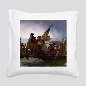 Washington Crossing the Delaw Square Canvas Pillow
