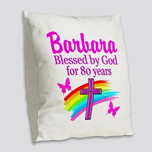 LOVELY 80TH Burlap Throw Pillow