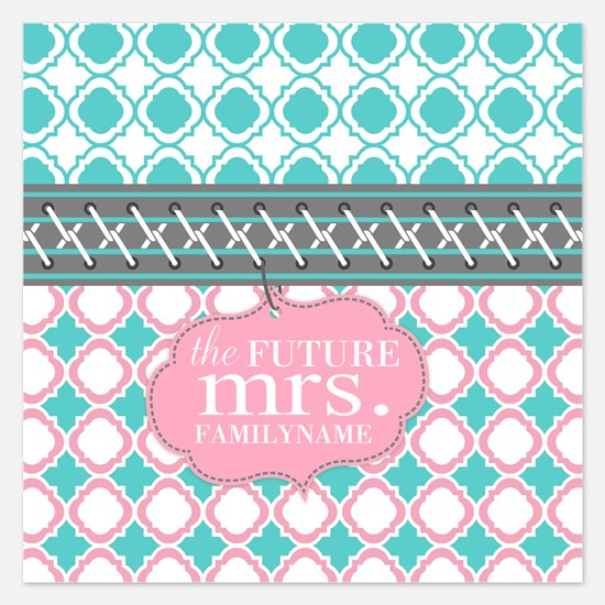 Pink Teal Quatrefoil Future Invitations