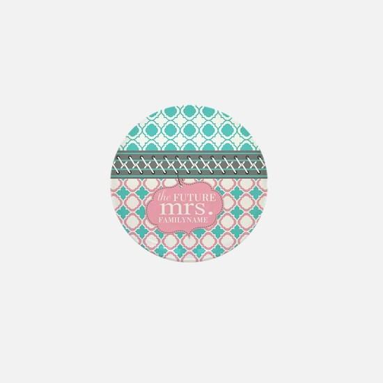 Pink Teal Quatrefoil Future Mini Button (10 pack)