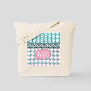 Pink Teal Quatrefoil Future Mrs. Personal Tote Bag