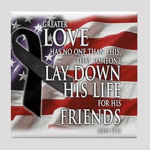 Black Ribbon Friend Memorial Tile Coaster