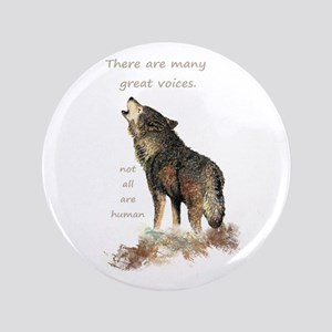 Many Great Voices Inspirational Wolf Quote Button