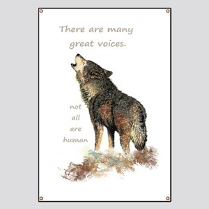 Many Great Voices Inspirational Wolf Quote Banner