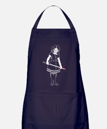 Scary Girl With Sword Apron (dark)
