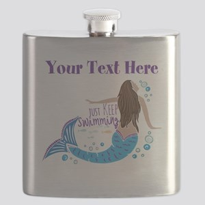 Just Keep Swimming Mermaid Flask