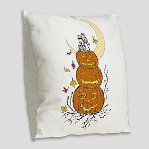 Halloween and Love Burlap Throw Pillow