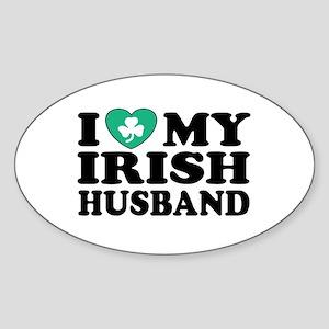 I Love My Irish Husband Oval Sticker