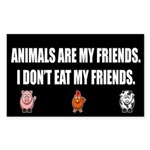 Animals Are My Friends Sticker - Black (rectangle)