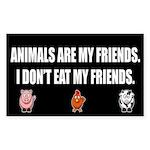 Animals Are My Friends Sticker - Black (rectangle)