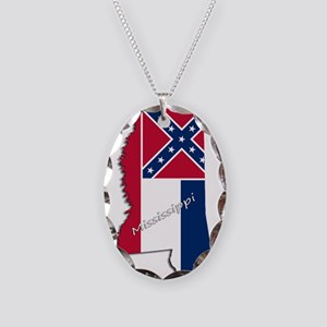 Mississippi State and Flag Necklace Oval Charm