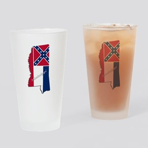 Mississippi State and Flag Drinking Glass