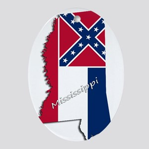 Mississippi State and Flag Oval Ornament
