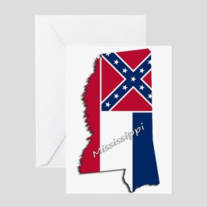 Mississippi State and Flag Greeting Cards
