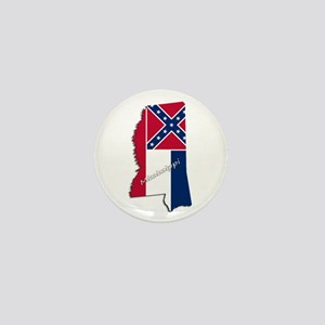 Mississippi State and Flag Mini Button