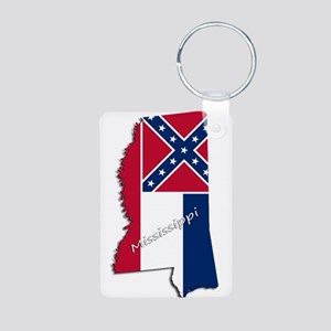 Mississippi State and Flag Keychains