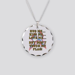Don't Touch My Flag Necklace Circle Charm