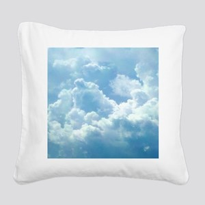 Puffy Clouds Square Canvas Pillow