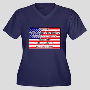 Armed securi Women's Plus Size V-Neck Dark T-Shirt