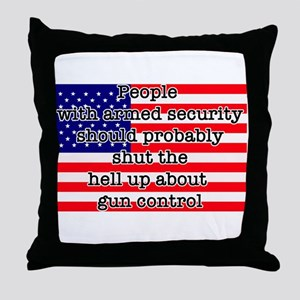 Armed security Throw Pillow