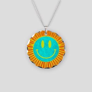happy face lion Necklace Circle Charm