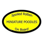 Spoiled Miniature Poodles On Board Oval Sticker