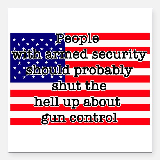 """Armed security Square Car Magnet 3"""" x 3"""""""
