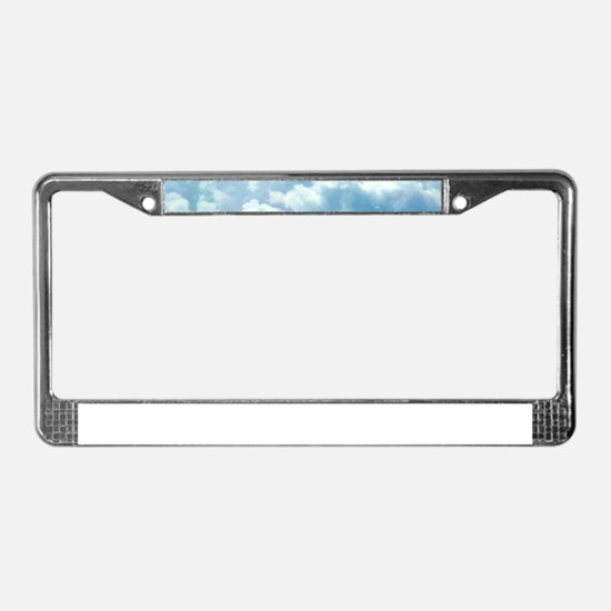 Puffy Clouds License Plate Frame