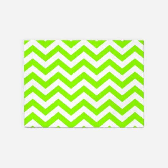 Green, Lime: Chevron Pattern 5'x7'Area Rug