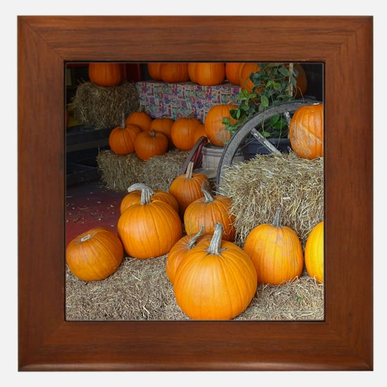 Pumpkin scene Framed Tile