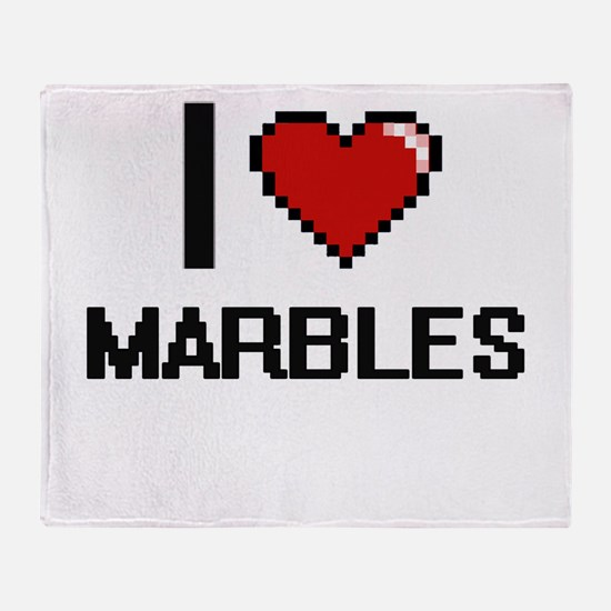 I Love Marbles Throw Blanket