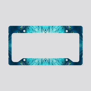 Christmas teal snowflakes tur License Plate Holder